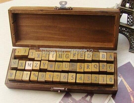 DHL Бесплатная доставка 50 компл. 42 шт./компл. алфавит штамп Творческие буквы и цифры штамп подарочной коробке/деревянный штамп/деревянный коробка