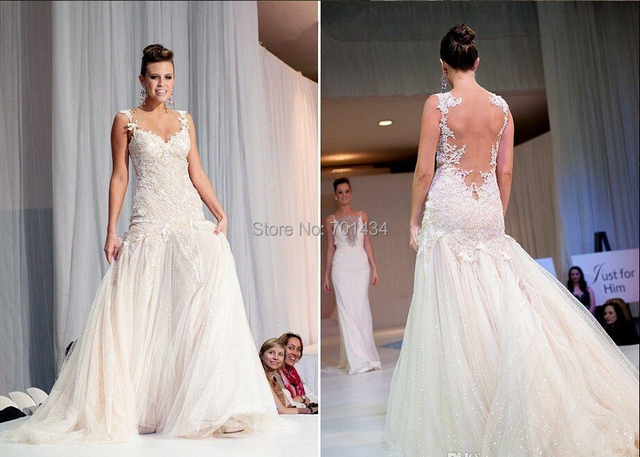 Runway Designer Sequin Wedding Dresses Bridal Gown Backless ...