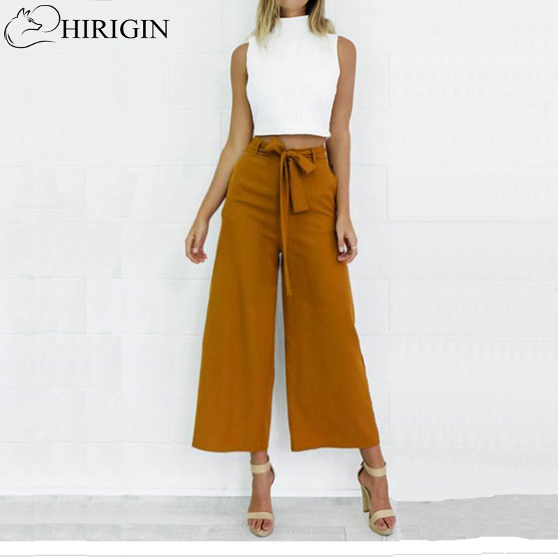 HIRIGIN Women Orange Wide Leg Chiffon Pants High Waist Tie Waist Trousers Palazzo OL Pants Long Culottes Pants Long Trousers