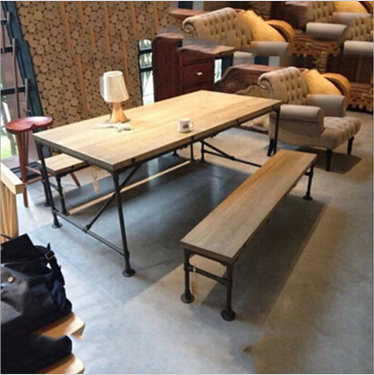 American country style furniture industry work table conference table  vintage wrought iron wood tables(China