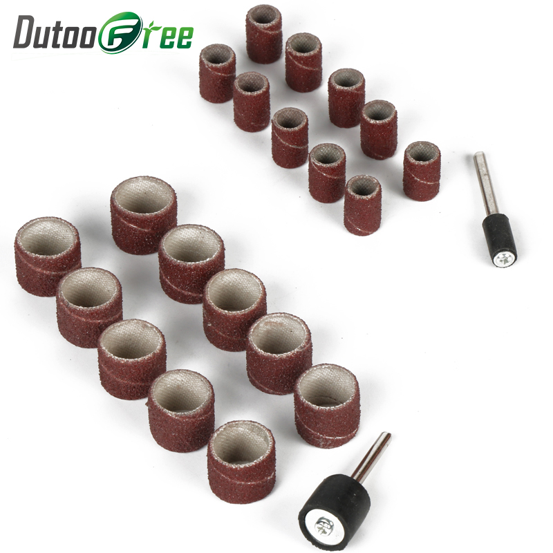 Dutoofree Rotary Tools Drill Attachment 15 PCS Sanding Band 6.35mm Drum Sander Dremel Accessories Fits For Dremel Drill Tools
