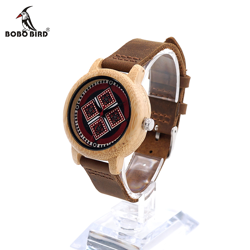 BOBO BIRD V-J19 Womens Bamboo Wooden Wristwatch Unique Bohemian Style Lady Quartz Watch In Gift Box Kadin Saat