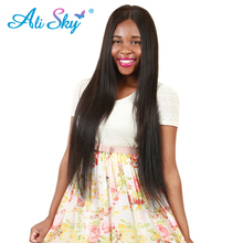 Ali Sky 360 Lace Frontal Closure Peruvian Straight Virgin Hair 10″-20″100% Unprocessed Human Hair Can Be Curled Natural Black