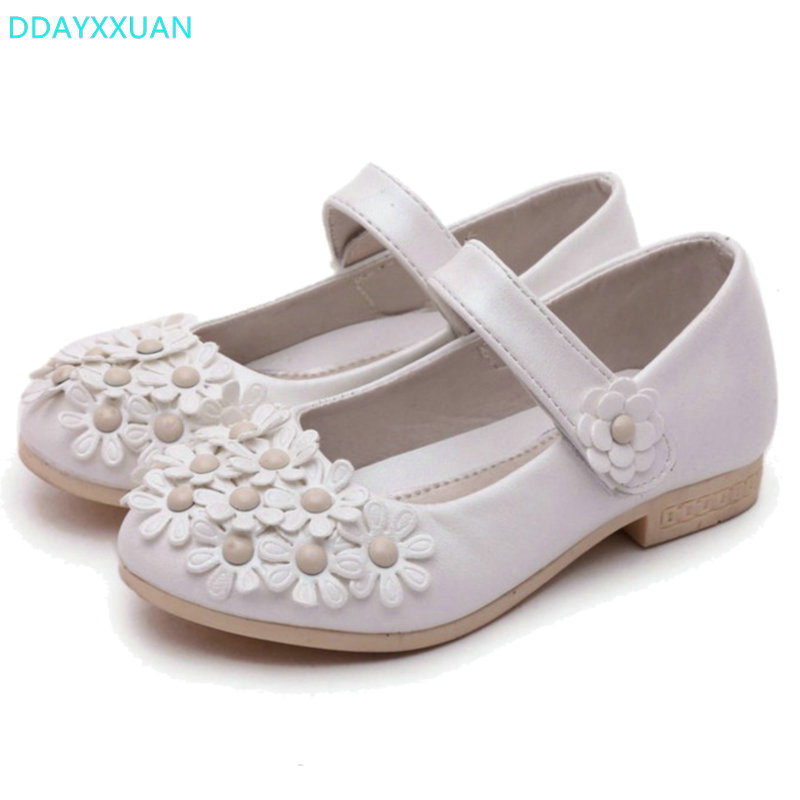 Children Princess Shoes 2018 New Band Spring Soft Sole PU Leather Fashion Flowers Kids Sandals for Girls Dress Shoes party 26~36 ...