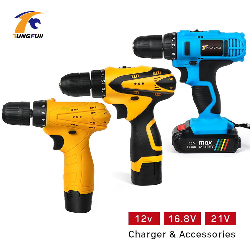 12V 16.8V 21V Electric Screwdriver Drill Lithium Battery Rechargeable Cordless Screwdriver Cordless Drill Power Tools Set ydl f 0538 polished nickel finish solid brass spring pull out kitchen faucet antique silvery