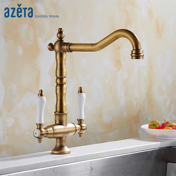 Azeta Classical Style 360 Degree Rotation Kitchen Faucet Brass Antique Double Handle Hot Cold Water Kitchen