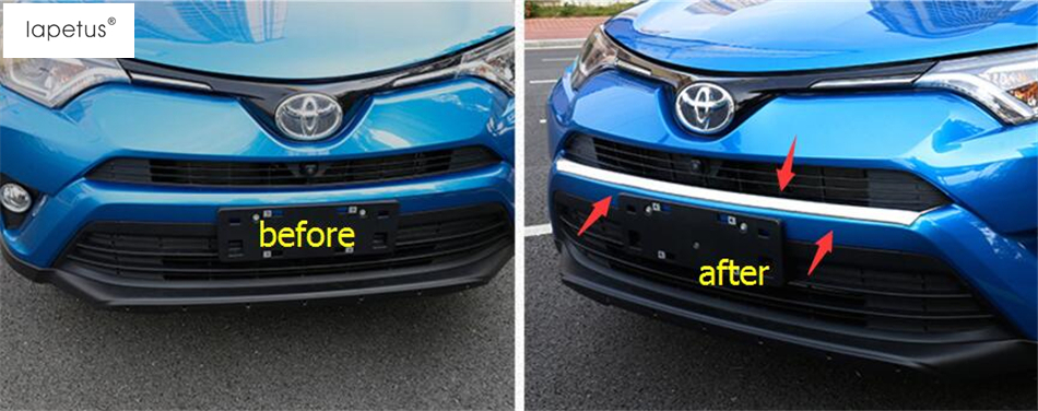 ABS ! Accessories For Toyota Rav4 Rav 4 2016 2017 2018 Front Head Bottom Bumper Protector Plate Molding Cover Kit Trim 1 Piece lapetus accessories for toyota rav4 rav 4 2016 2017 2018 console central air condition ac outlet vent molding cover kit trim