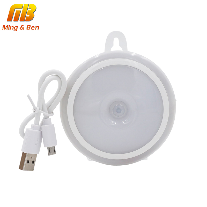 [MingBen] LED Night Light PIR Motion Sensor Round LED Cabinet Light Energy Saving Wall Lamp Lighting By USB charging For Closet litake led bulb lamp energy saving motion activated light bulb e27 9w pir infrared motion sensor light pir stairs night light