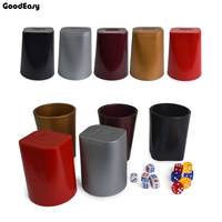 KTV Bar Plastic Colorful Gambling Casino Carving Patterns Thickened Plastic Dice Cup With 6pcs 13 White