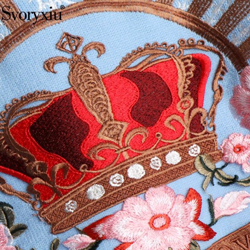 Piste Couronne Broderie Luxe Pu Lâche Décontracté Svoryxiu Bleu À Supérieure Tricoter Chandail Pulls Ciel Qualité Femmes De Floral 2018 D'hiver BRnqxw15