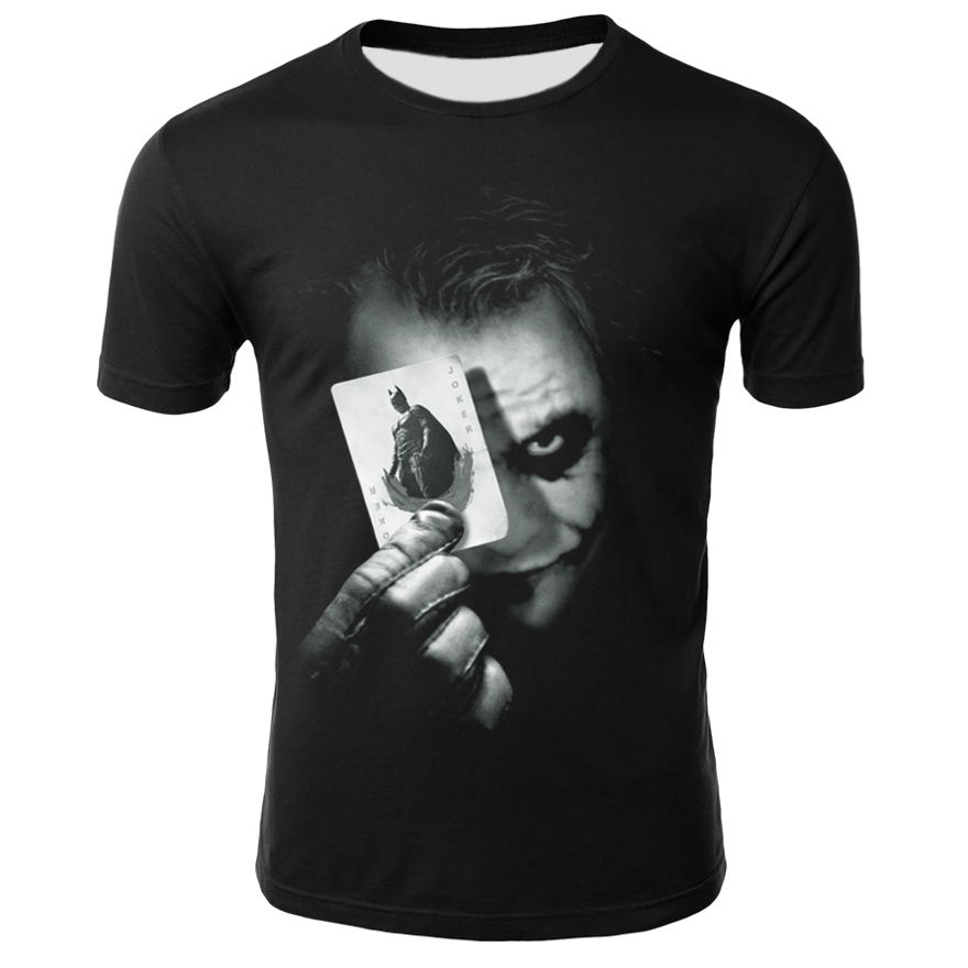 Plus Size S-4XL Cool Joker T Shirt Men Summer Harajuku T-shirt Crew Neck Casual Tee Shirt Homme Funny T-shirts 0 Neck