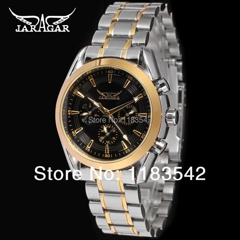 Jargar hommes montre couleur or lunette en acier inoxydable Bracelet cadran noir 6 mains robe montre - Bracelet JAG6055M4T1