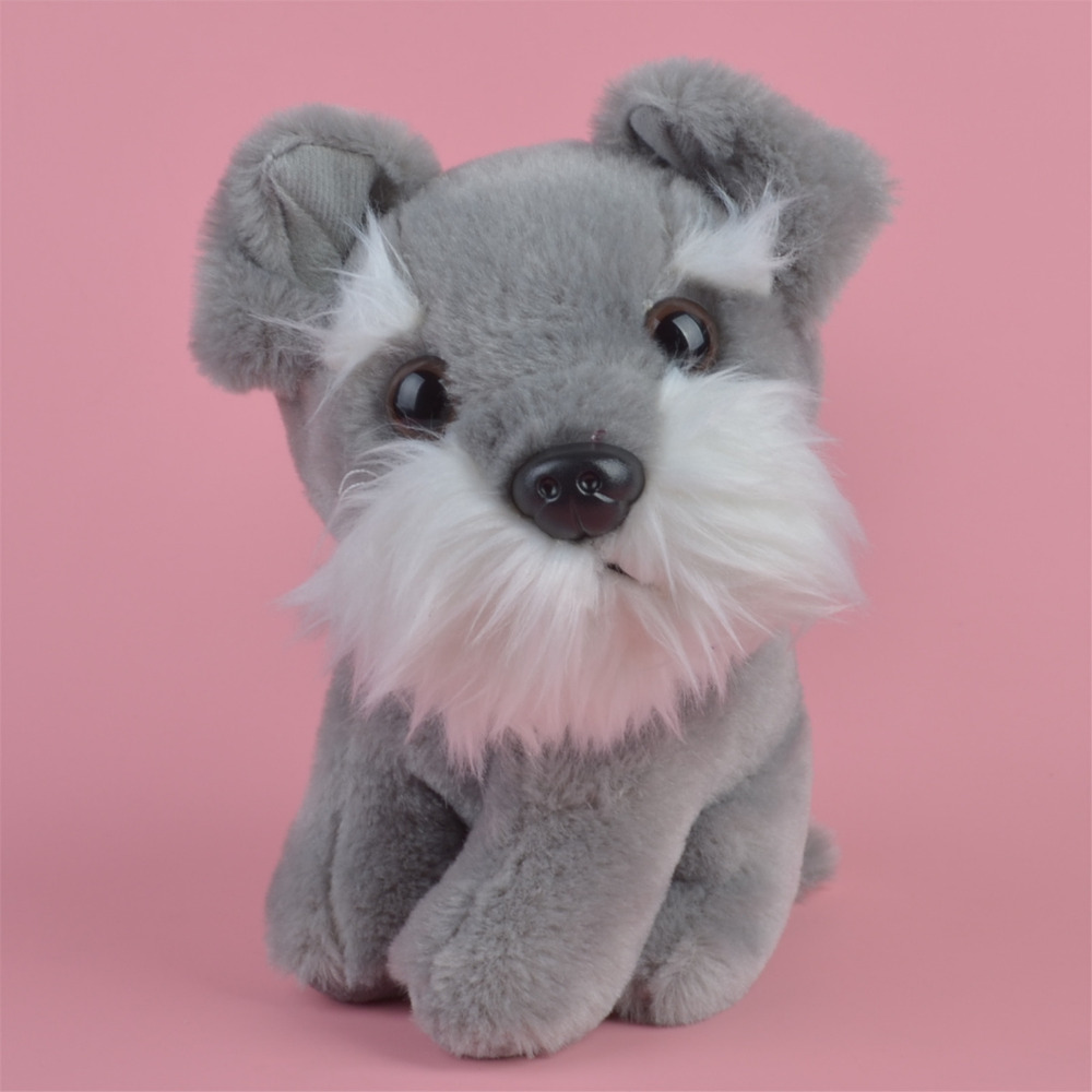 Grey Color Schnauzer Dog for Cute Baby/ Kids Gift Plush