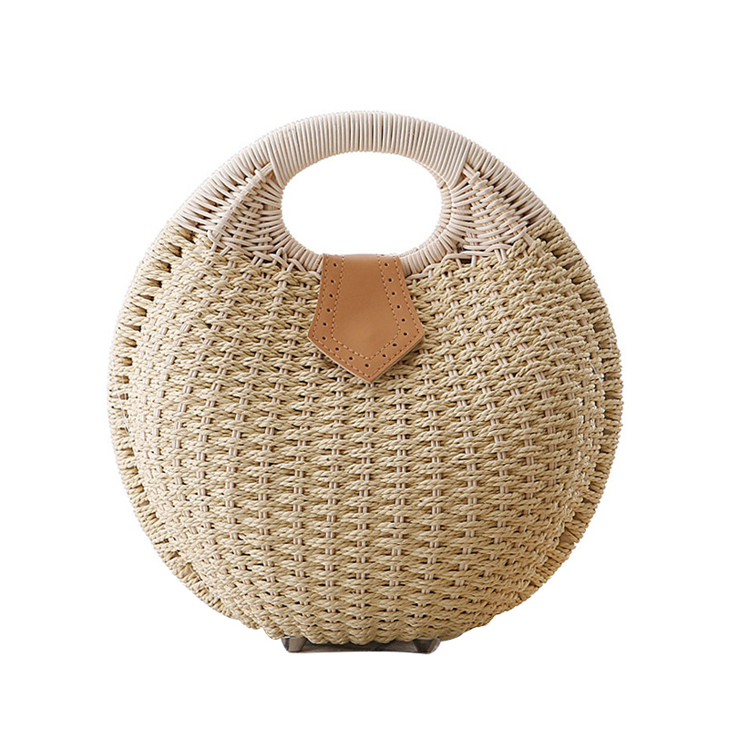 Beach Bag Handmade Round Straw Bag Clutch Women Handbag Woven Knitted Rivets Small Summer Shell Bag Fashion Luxury Designer New