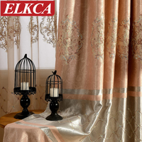 European Thick Embroidered Curtains For Living Room Beaded Tulle Curtains Window Blinds Drapes Lace Luxury Curtains