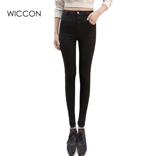 4bbc966055794 Negro azul oscuro pantalones vaqueros flacos femeninos lápiz pantalones de cintura  alta delgada delgada ocasional de