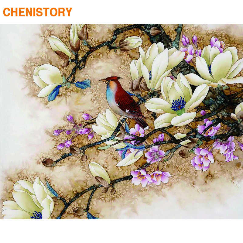 CHENISTORY Frameless Picture Birds Flowers DIY Painting By Numbers Home Wall Artwork Hand Painted Oil Painting For Home Decor