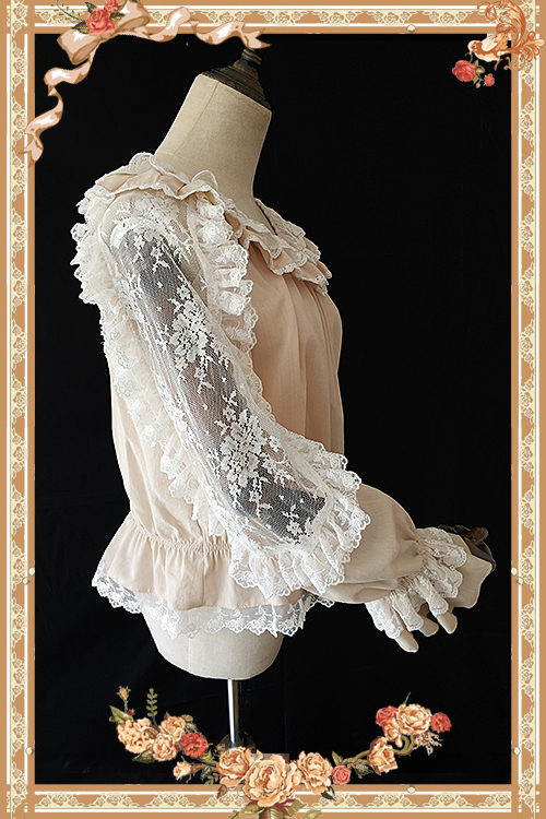 Sheer Long Hollow Out Sleeve Lace Top with Ruffles by Infanta-in Blouses & Shirts from Women's Clothing    2