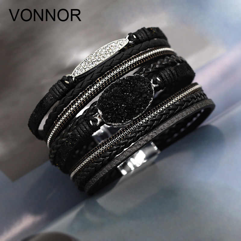 VONNOR Women Bracelet Jewelry Multilayer Leather Rope Chain Alloy Inlaid Rhinestone Bracelets Female Accessories Dropshipping