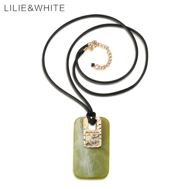 Liliewhite rectangle shape acrylic pendant necklace for women liliewhite rectangle shape acrylic pendant necklace for women with abalone shell ethnic pendant necklace fashion jewelry mozeypictures Image collections