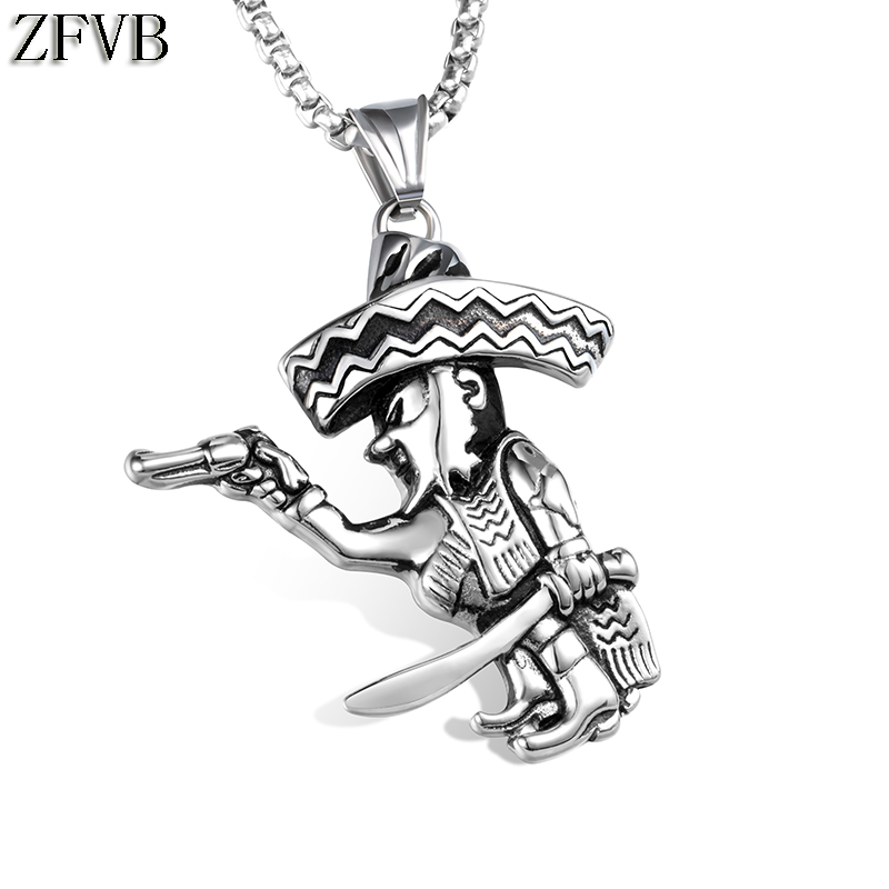 ZFVB Classic Mens Caribbean Pirates Pendant & Necklace 316L Stainless Steel Hiphop Pistol Necklace Pendants Men Jewelry Gift