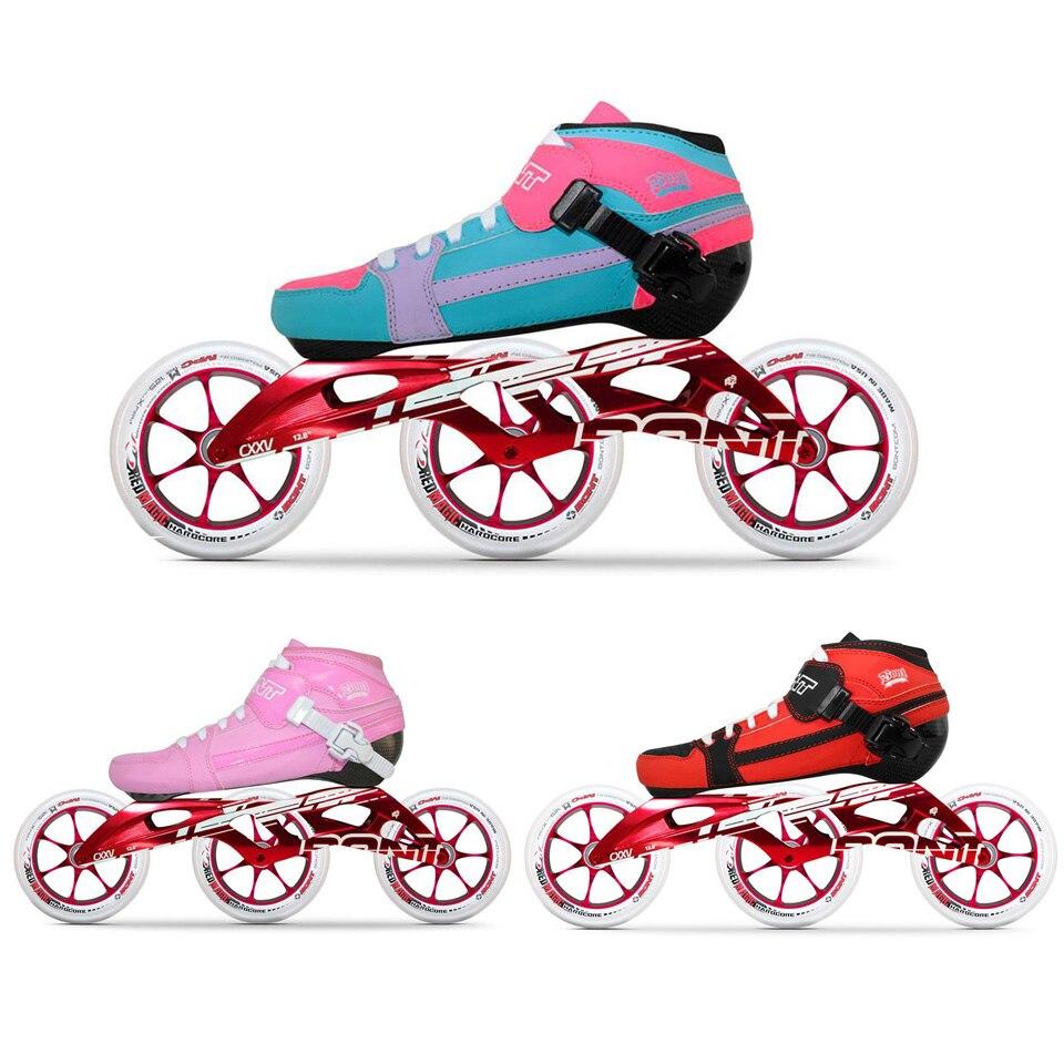 100% Original BONT professionnel vitesse patins à roues alignées rouleau thermomoulable en Fiber de carbone Boot 125mm roues patins pour enfants adulte BT1