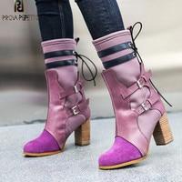 Prova Perfetto Новинка зимы Модные фиолетовые сапоги Для женщин Высокие каблуки носок сапоги натуральная кожа Пряжка для печворка ремень стрейч с