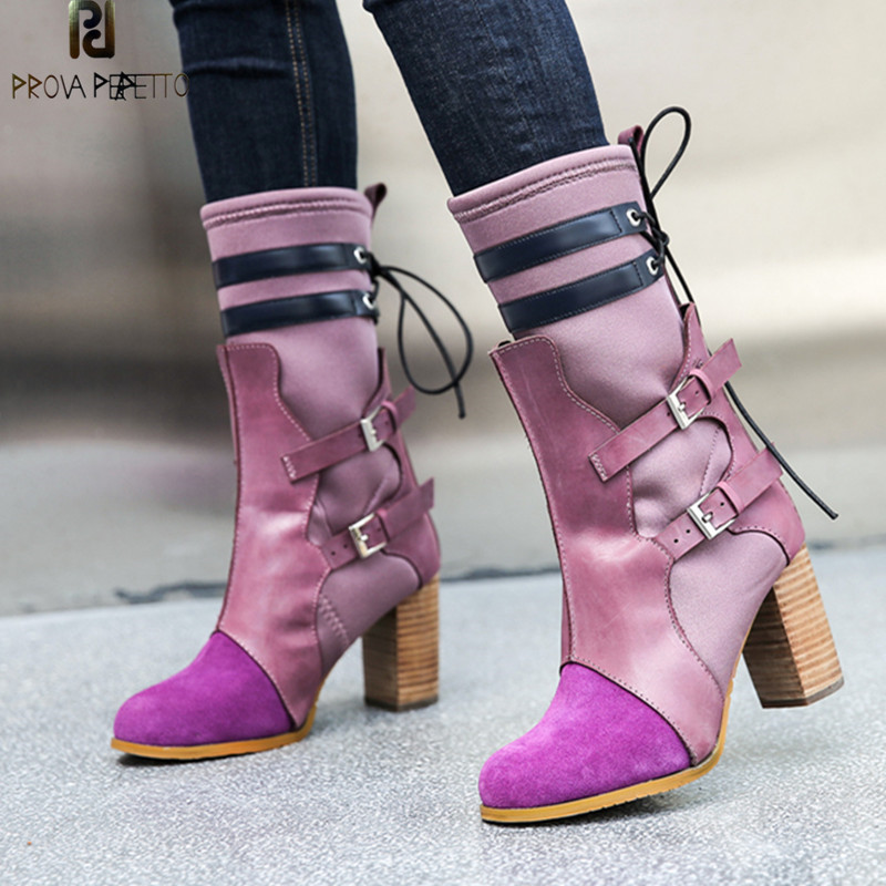 Prova Perfetto Winter New Fashion Purple Boots Women High Heels Sock Boots Genuine Leather Patchwork Buckle Strap Stretch BootsProva Perfetto Winter New Fashion Purple Boots Women High Heels Sock Boots Genuine Leather Patchwork Buckle Strap Stretch Boots