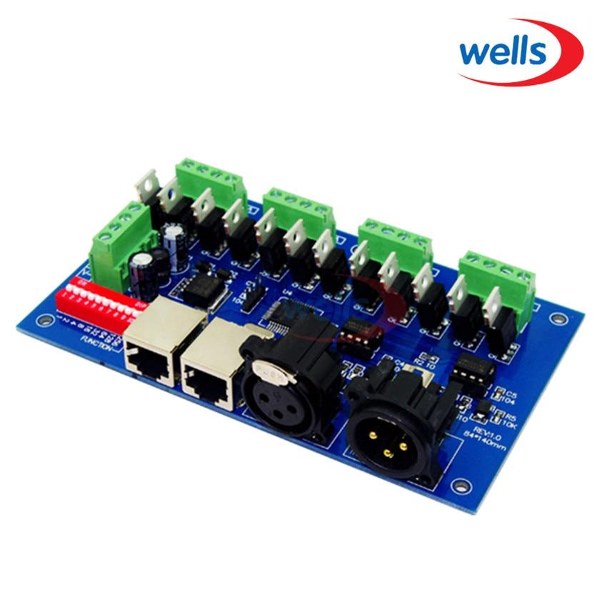 12CH Kolay dmx512 Kontrol Cihazı, dekoder, 4 grup RGB çıkışı, (XLR, RJ45) ile, her CH Max 3A, LED şerit ışığı için, modül 12-24V