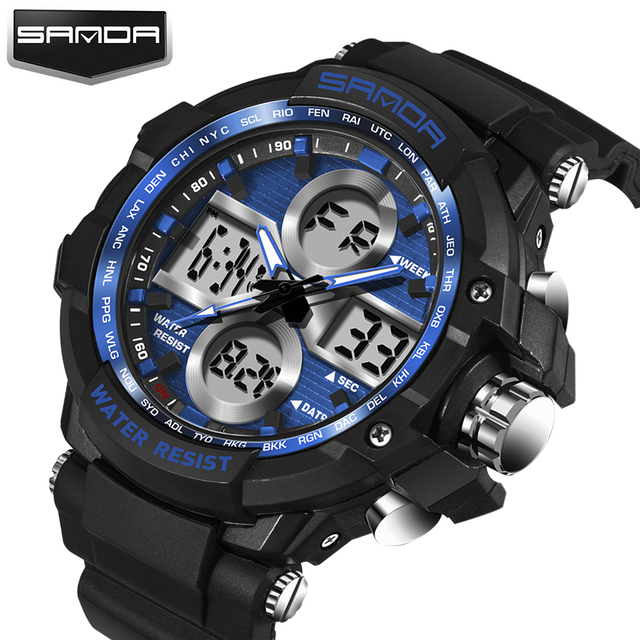 Hombres Top Marca de Lujo Digital de Choque reloj Hombres Del Reloj Del Deporte 2017 Reloj Masculino de Cuarzo LED Digital Relojes de Pulsera Relogio masculino