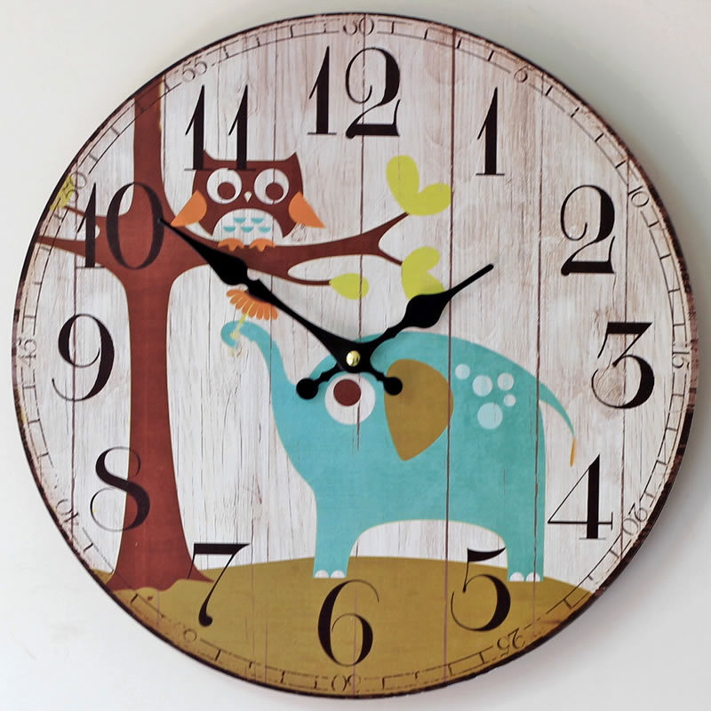 Large Size wall clocks nostalgic british style colored drawing wooden wall clock fashion home kids gift decoration ornament 35CM