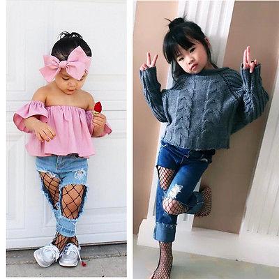 2017 cute Kids Baby Girl Mesh Fishnet Net Pattern Pantyhose Tights Stockings
