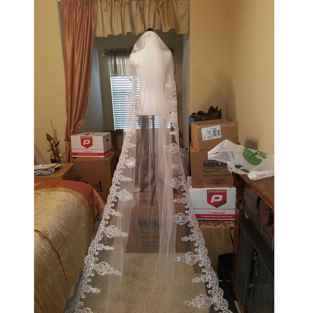 Wedding Accessories Lace Three Meters Long Wedding Veils New White Ivory Tulle Appliques Edge High Quality Free Shipping Modern