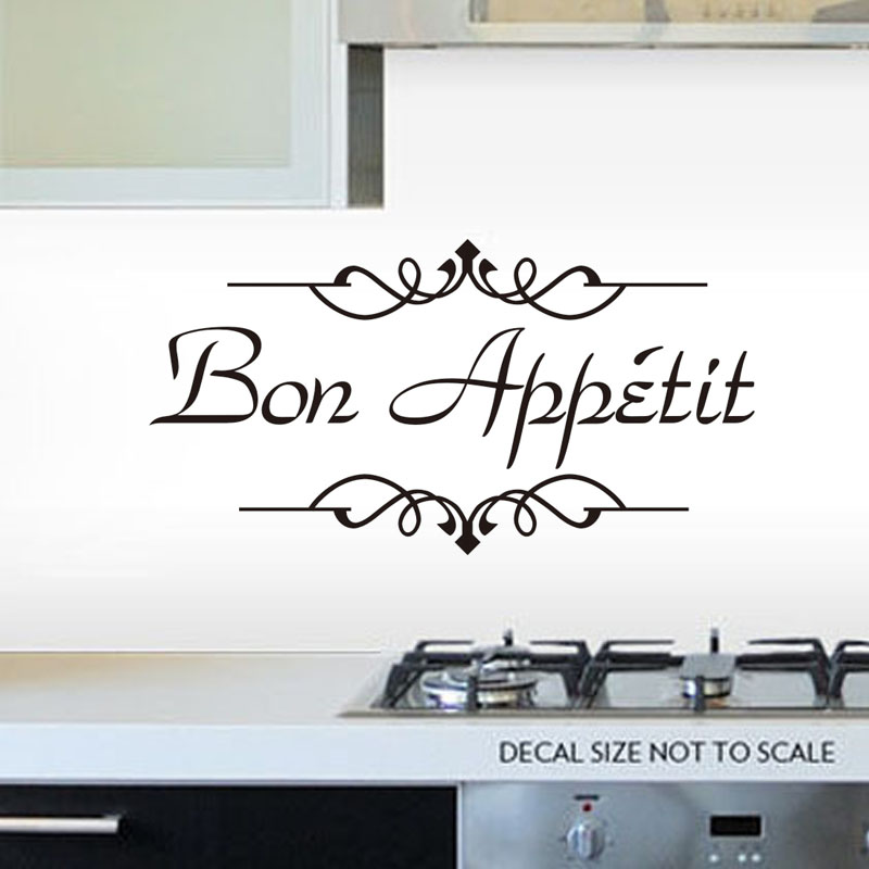 Food Wall Stickers Bon Appetit French Salute Restaurants Paper Dining Room Decoration Kitchen Decals Vinyl Removable
