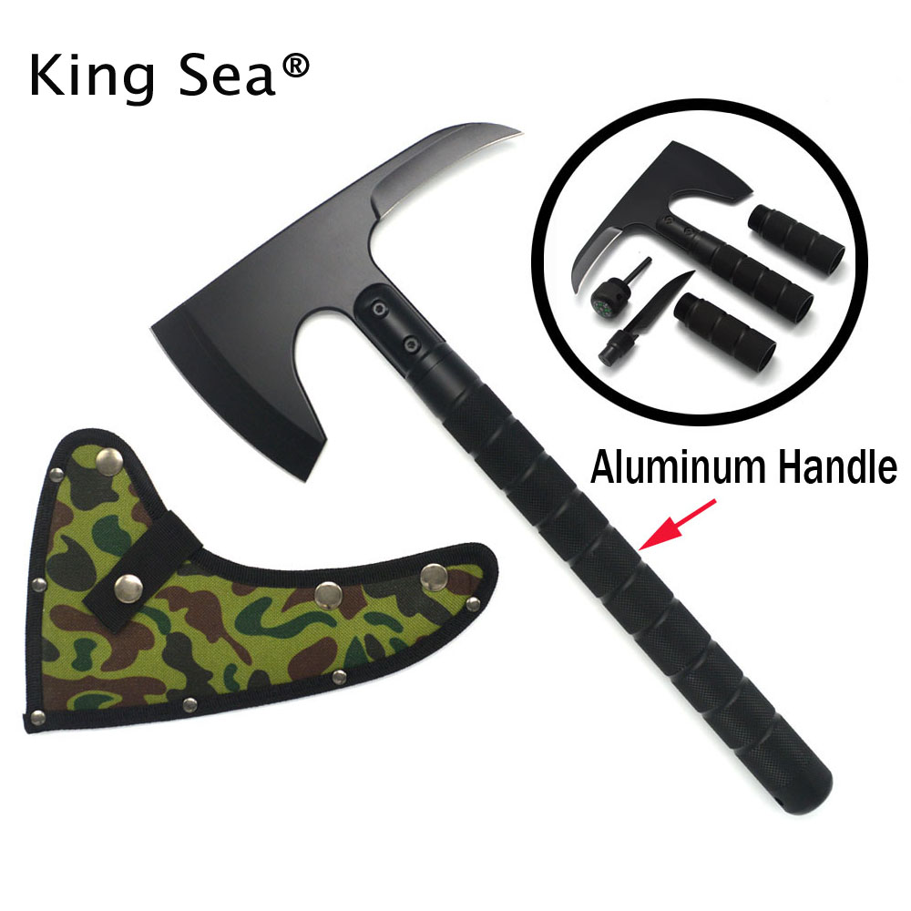 New Outdoor Camping Axe Aluminum Handle Tomahawk Fire Rescue Survival Multifunctional floding Axe damask tactical hammer axe tomahawk fire cold ice axe army rescue ax mountain cutting axe outdoor tools garden building tools