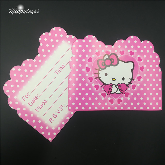 10pcs/lot the Hello Kitty birthday Invitation Cards Theme Party For