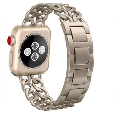ФОТО iwatch bands 38mm womens  stainless steel metal cowboy chain wrist band for apple watch gold series 3 2 1 sport and edition