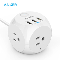 Power Strip,Anker PowerPort Cube,3 Outlets and 3 USB Portable with Switch Control Overload Protection,5 ft Cable,for iPhone etc