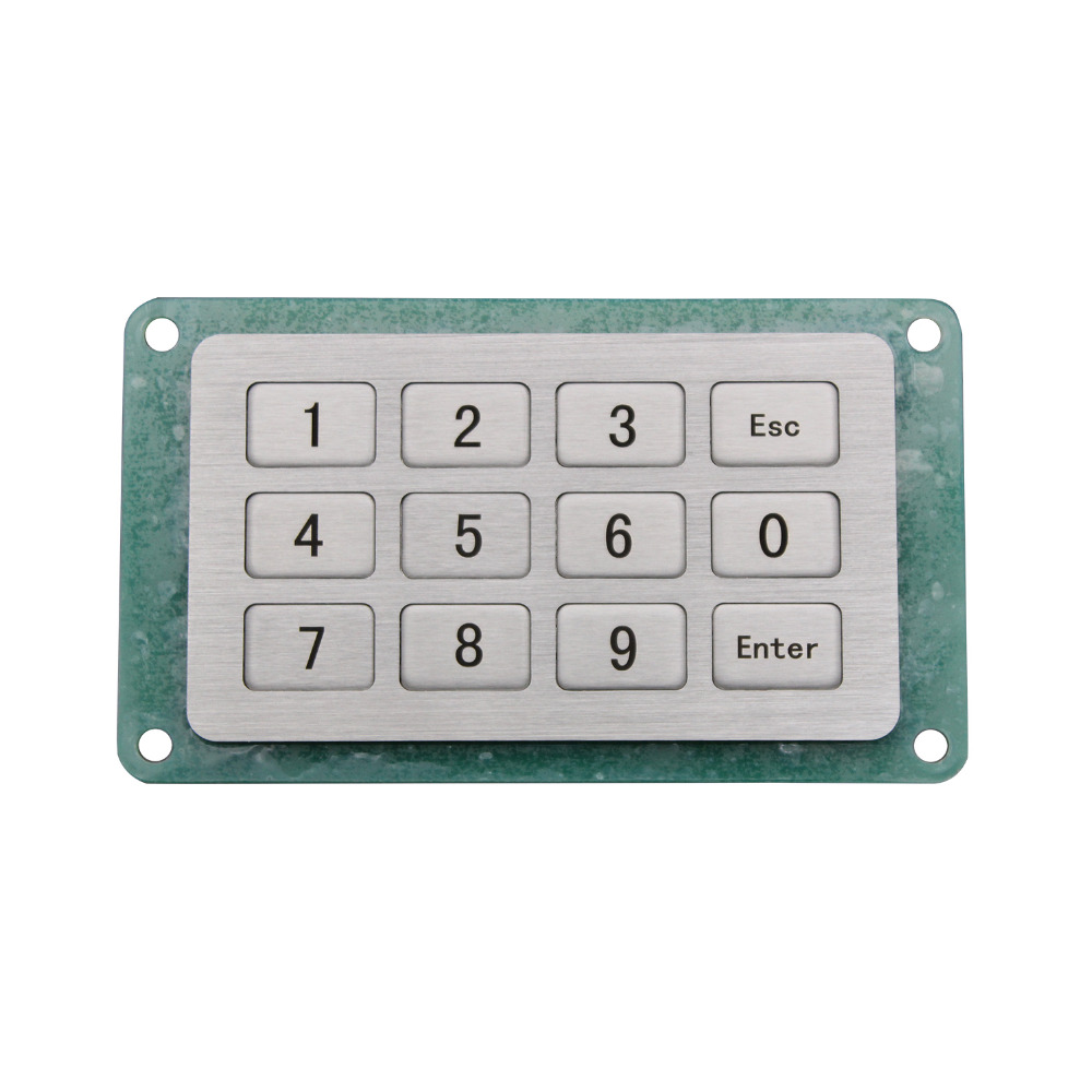 Industrial Keyboard with 12 Keys IP65 4x3 Kiosk Metal Matrix Keypad Stainless Steel Metallic Waterproof Slim