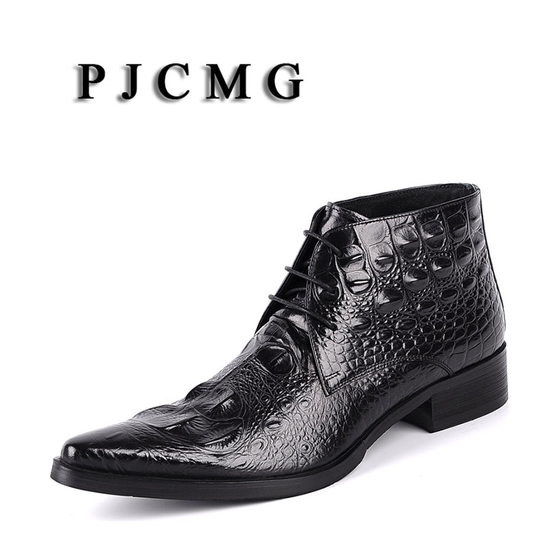 PJCMG High Quality Men Black/Red Lace-Up Ankle Waterproof Rubber Casual Genuine Leather Formal Business Office Men BootsPJCMG High Quality Men Black/Red Lace-Up Ankle Waterproof Rubber Casual Genuine Leather Formal Business Office Men Boots