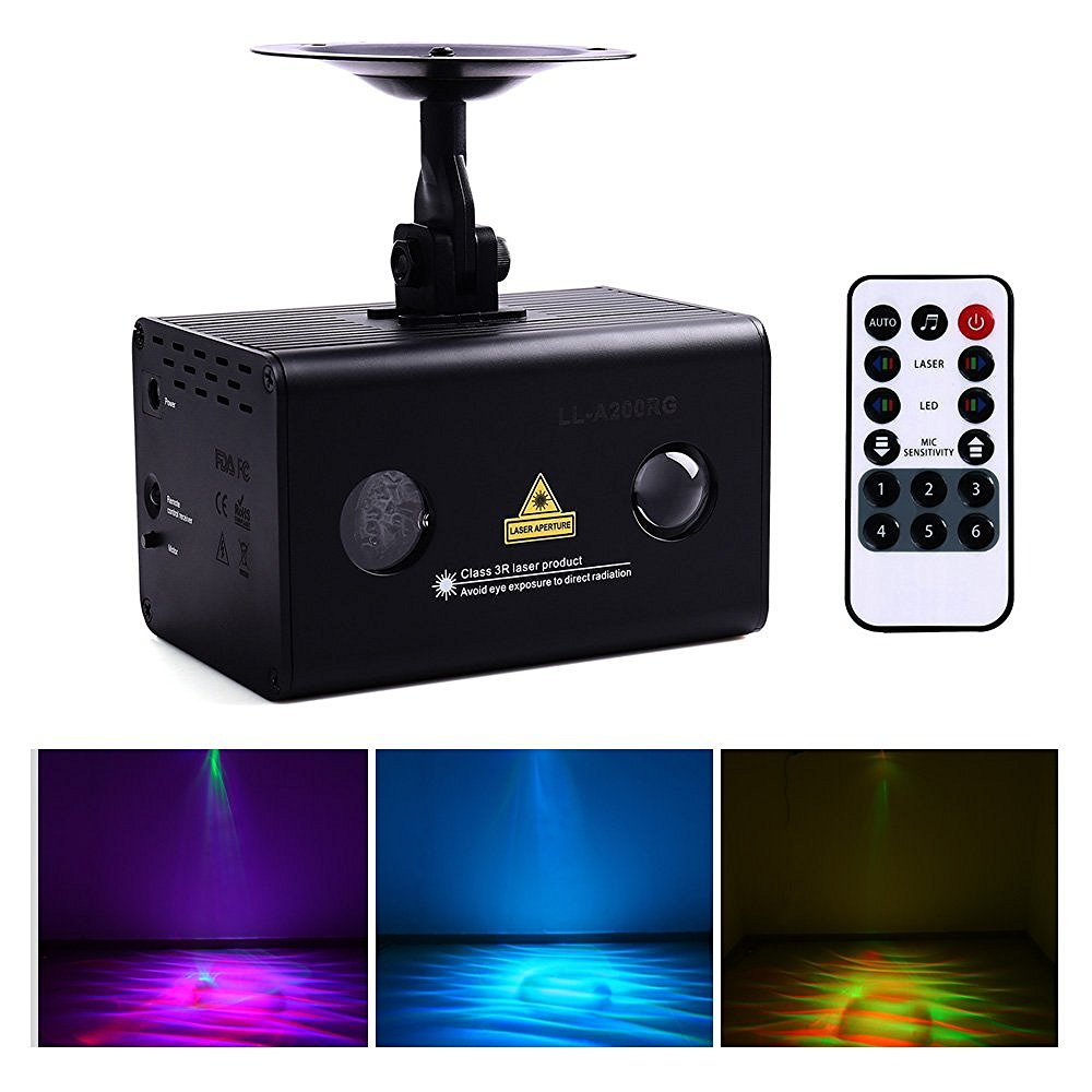 Red Green Aurora Laser Galaxy Wavy LED Light Stage Projector Wireless Remote Control and Sound Active, DJ, Club Bar, Home Party transctego laser disco light stage led lumiere 48 in 1 rgb projector dj party sound lights mini laser lamp strobe bar lamps