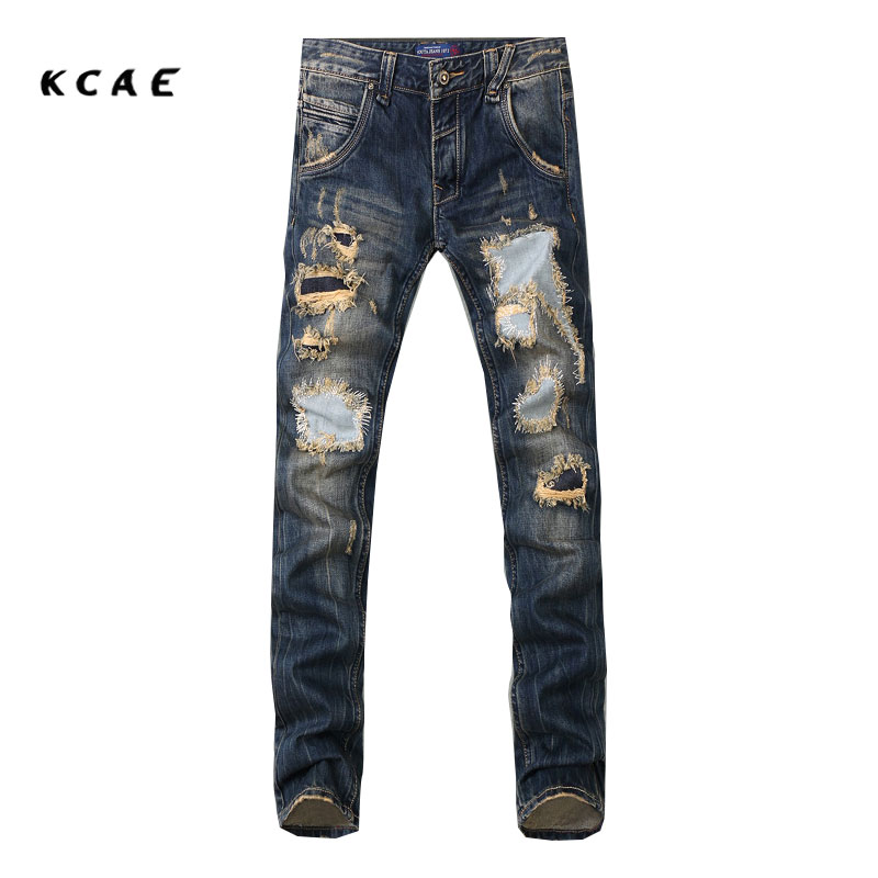 2017 New Fashion Men`s Distressed Jeans With Holes Acid Washed Vintage Casual Denim Pants Ripped Patch Jeans For Men Size 28-40 2014 new fashion reminisced men vintage trousers casual jeans wash capris pants loose plus size overalls zipper denim jumpsuit
