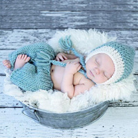 Newborn Baby Girls Boy Photo Shoot Props Crochet Outfits Infant Baby Hat Pants Photography Props Studio