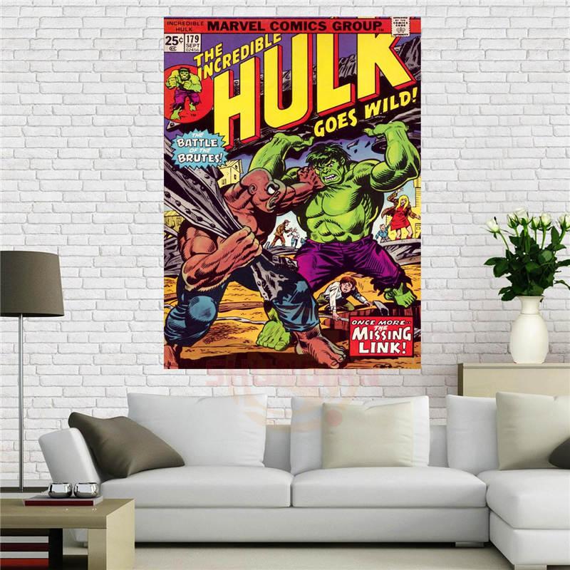 Canvas affiche Marvel Comics-Incroyable Hulk Affiche 40x60 cm Décoration de La Maison tissu tissu mur d'affiche Tissu de soie