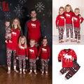 Familia Juego de dormir ropa de Dormir Pijamas Set Mujeres Niños Bebé Ciervos de Navidad