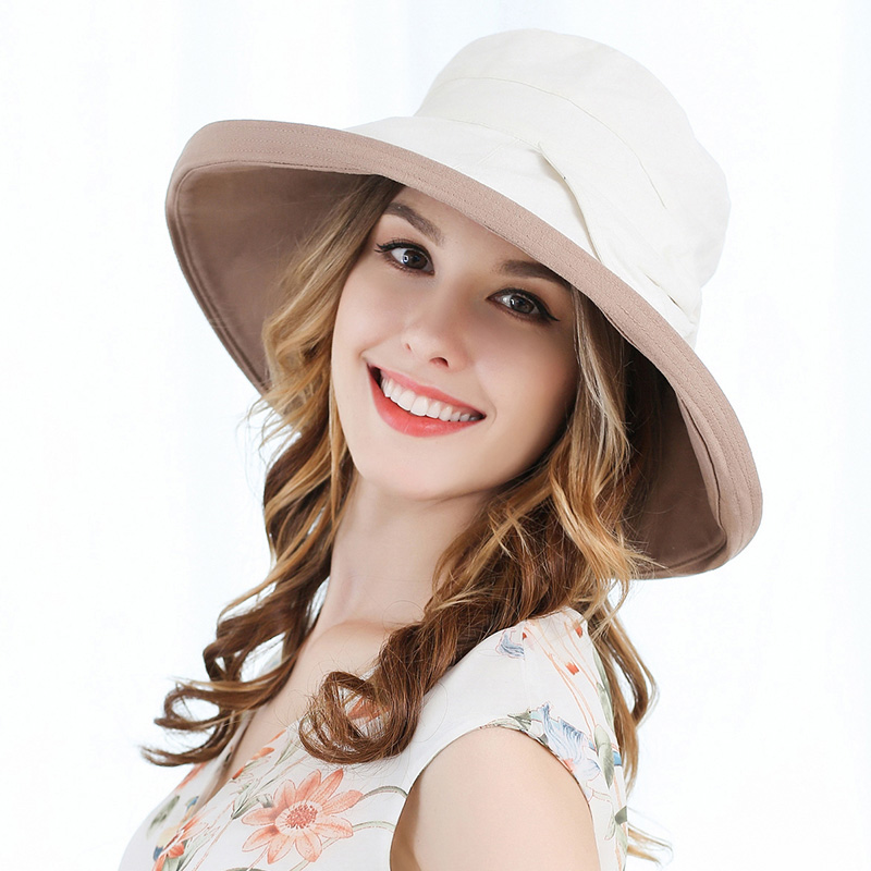 6d167544e8c311 FS Cotton Linen Foldable Sun Hat For Women Summer Large Beach Hats Navy  Blue Wide Brim Ladies Bowknot Uv Visors Cap-in Sun Hats from Apparel  Accessories on ...