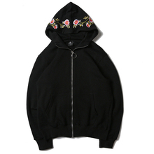 Dropshipping Tiger Embroidery Flower Hoodies Sweatshirts Winter Black Hip Hop Headwear Hoody Us Size S-XL