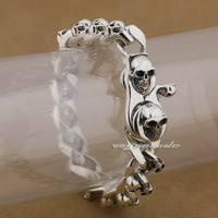 8 длины 925 стерлингового серебра ручной работы черепа мужской браслет байкера 9N005