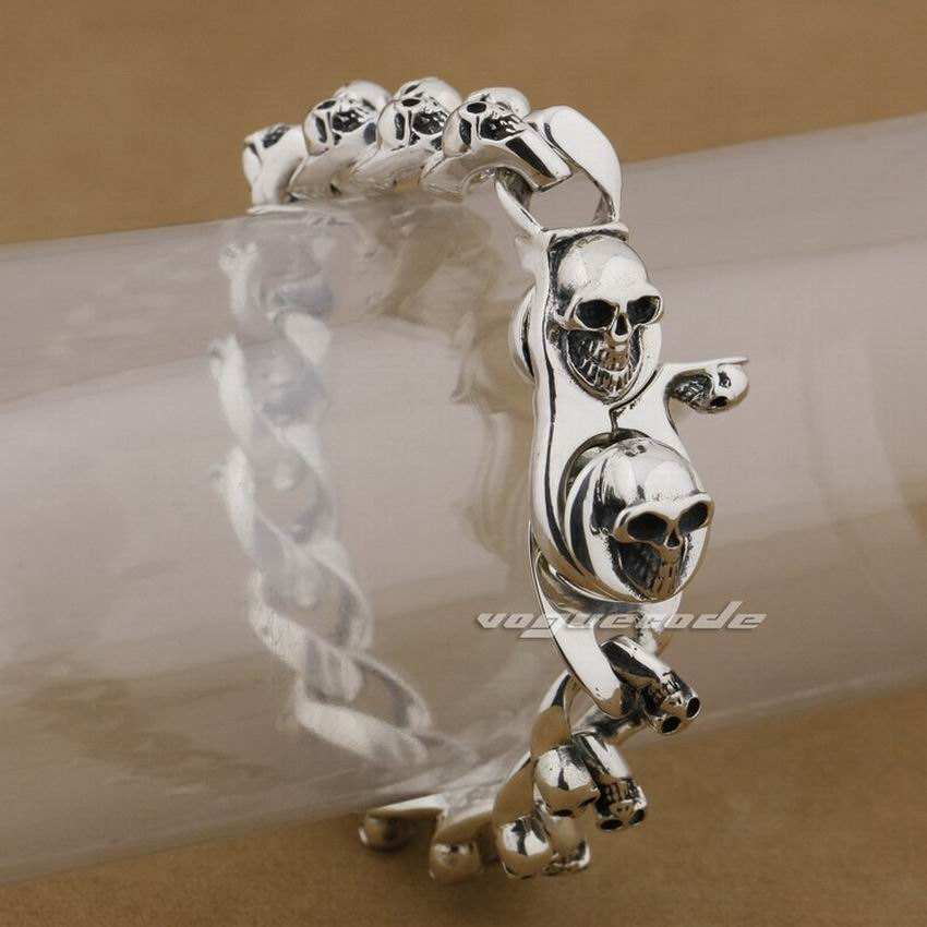 Lengths Sterling Silver Handmade Skulls Mens Biker Bracelet N inch