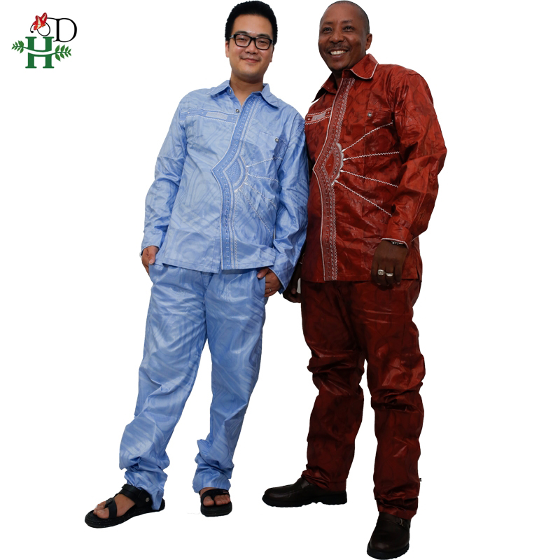 2019 african men clothing new fashion bazin riche set man tops and pants sets traditional mens outfitting suits